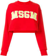 MSGM logo applique cropped sweatshirt