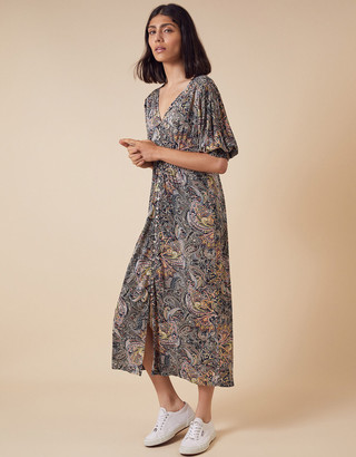 Monsoon Paisley Jersey Midi Dress in Sustainable Viscose Blue
