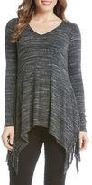 Karen Kane Long Sleeve Knit Fringe Top
