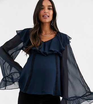 ASOS DESIGN Maternity ruffle top with lace insert
