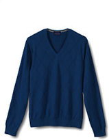 Classic Men's New Fit Supima Textured V-neck Sweater-Dark Charcoal Herringbone