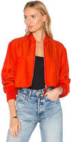 Alexander Wang Crop Bomber Jacket in Red
