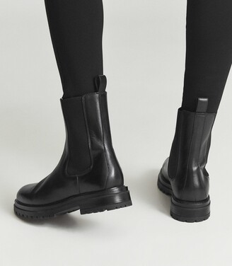 Reiss Thea - Leather Chelsea Boots in Black