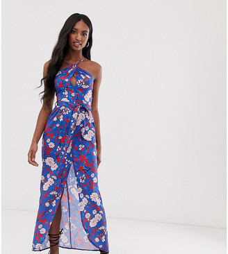 Parisian Tall floral halterneck maxi dress with keyhole detail and tie waist-Blue