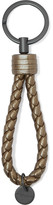 Bottega Veneta Metallic Intrecciato Leather Keychain - Gold