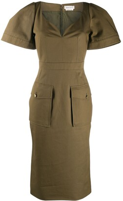 Alexander McQueen Patch Pockets Midi Dress