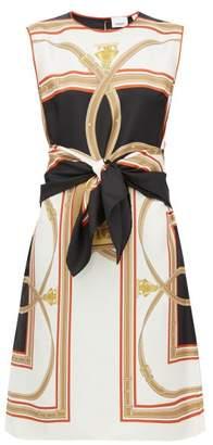 Burberry Detachable-belt Scarf-print Silk Shift Dress - Womens - Black Multi