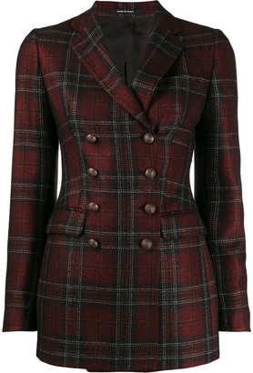 Tagliatore double-breasted plaid print blazer