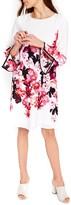 Wallis Women's Pink Posie Flare Sleeve Tunic Dress