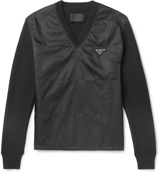 Prada Slim-Fit Logo-Appliqued Virgin Wool And Nylon Sweater