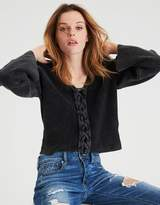 American Eagle Outfitters AE Acid Washed Lace-Up Front Pullover Sweater