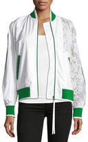 No.21 No. 21 Zip-Front Sports Bomber Jacket with Lace Sleeve