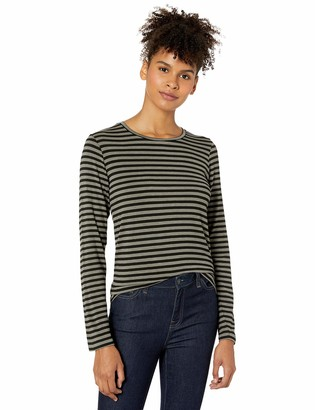 Majestic Filatures Women's Soft Touch Striped Long Sleeve Crew Neck Shirt