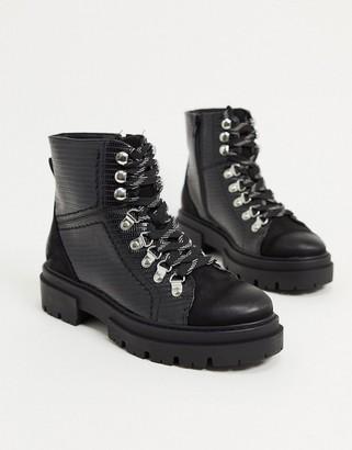 Glamorous flat hiker boots in black croc mix