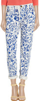 Diane von Furstenberg Current/Elliott The Relaxed Straight Leg printed low-rise jeans
