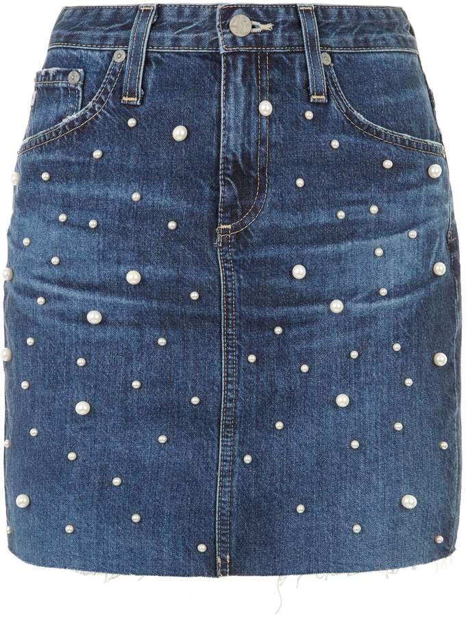AG Jeans Erin Embellished Denim Mini Skirt