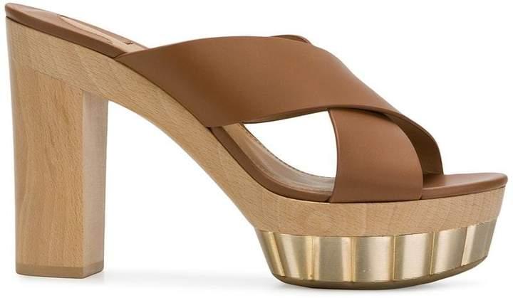 Salvatore Ferragamo crossover strap platform sandals