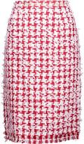 Oscar de la Renta Fringed houndstooth tweed pencil skirt