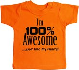 Dirty Fingers, I'm 100% Awesome, just like my Aunty, Baby Boy T-shirt, 24-36m