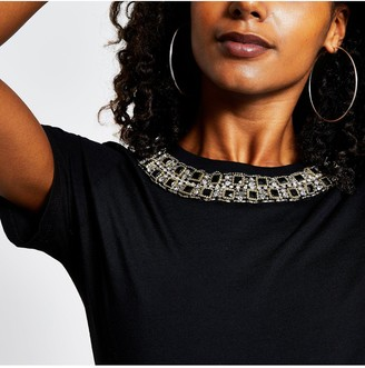 River Island Puff Sleeve Embellished Neck T-shirt - Black
