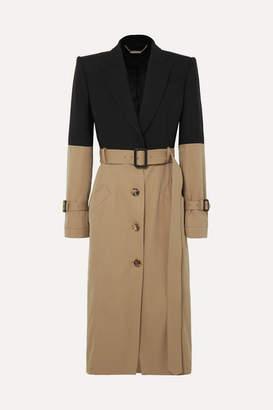 Alexander McQueen Belted Two-tone Cotton Coat - Beige