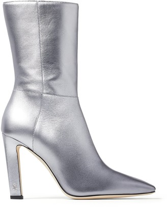 Jimmy Choo MERLE 100 Metallic-Silver Degrade Nappa Leather Block Heel Boots