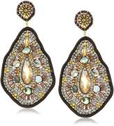 Miguel Ases Leather and Abalone Large Tear Drop Earrings