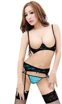 Rokou Women's Sexy Open Bra Cups Suspender Belt Lingerie Bikini Set Underwear