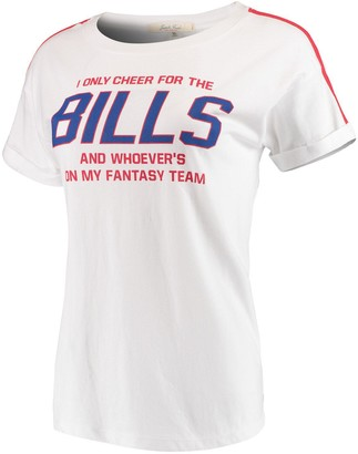 Junk Food Clothing Women's White/Red Buffalo Bills Cheer Rolled Sleeves T-Shirt