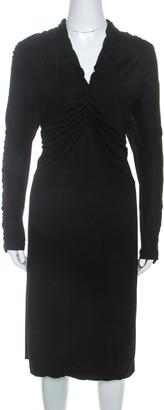Fendi Black Knit Ruched Detail Long Sleeve Midi Dress L