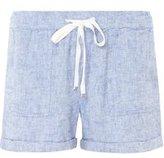 Dorothy Perkins Womens Chambray Linen Shorts- Blue