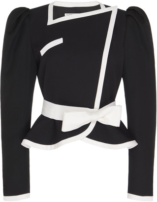 Alessandra Rich Bow-Accented Peplum Wool Jacket