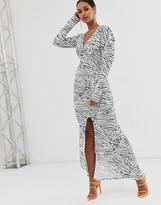 Asos Design DESIGN mono print maxi dress