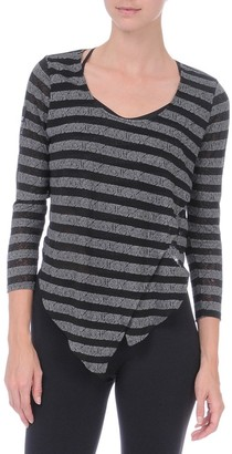 Danskin Women's NYCB Asymmetrical Stripe Cover-Up Top