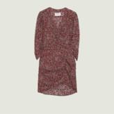 BA&SH Carmin Crystal Floral Print Draped Short Dress - s