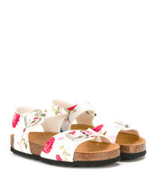 MonnaLisa floral print sandals - kids - Leather/Patent Leather/rubber - 24