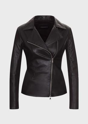 Emporio Armani Lambskin Nappa Leather Biker Jacket With Jersey Inserts