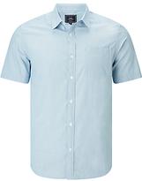 John Lewis Smarter Fine Stripe Short Sleeve Shirt, Blue
