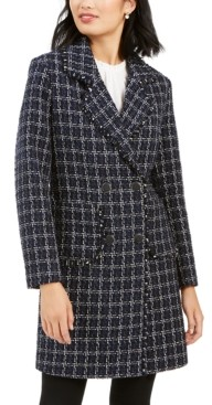 Andrew Marc Double-Breasted Plaid Tweed Coat