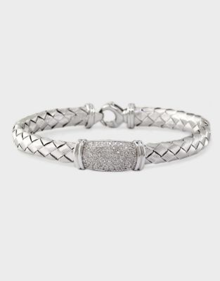 EFFY COLLECTION Woven Sterling Silver Bracelet with Diamonds