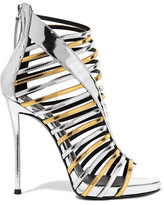 Giuseppe Zanotti Two-tone Mirrored-leather Sandals - Silver