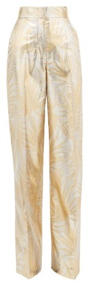Sara Battaglia Palm-jacquard Wide-leg Lurex Trousers - Gold Multi