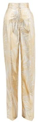 Sara Battaglia Palm-jacquard Wide-leg Lurex Trousers - Womens - Gold Multi