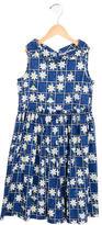 MonnaLisa Girls' Pleated Floral Print Dress