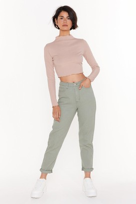 Nasty Gal Womens Just Be Straight With Me Denim Jeans - Green - 14