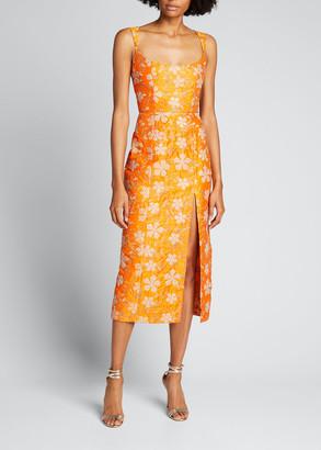 MARKARIAN Embroidered Scoop-Neck Slit Cocktail Dress