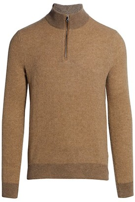 Ralph Lauren Purple Label Half Zip Cashmere Polo Sweater