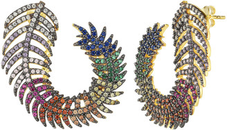 Sphera Milano 18K Over Silver Cz Feather Earrings