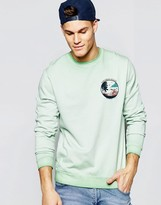 Asos Sweatshirt With Chest Print In Washed Green
