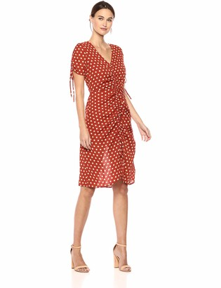 J.o.a. Women's Polka Dot Short Sleeve V Neck Ruched Midi Dress